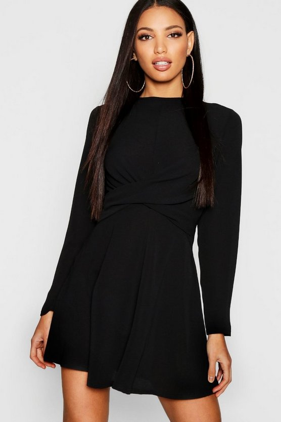 Wrap Front Woven Skater Dress