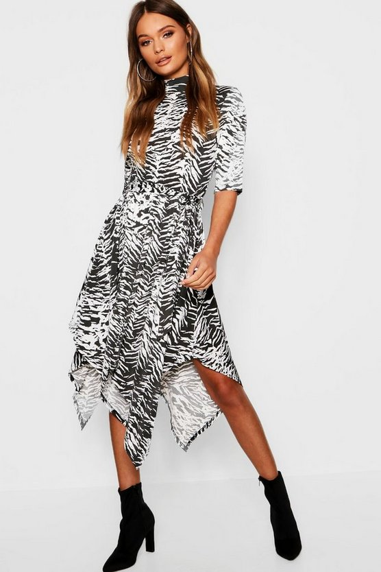 Black Zebra Print High Neck Hanky Hem Midi Dress