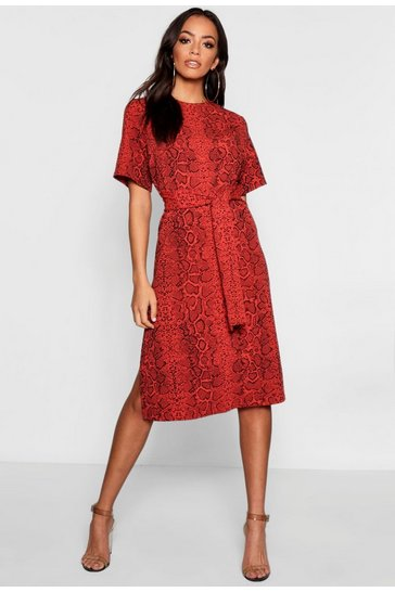 Rust Snake Print Tie Waist Midi Shift Dress