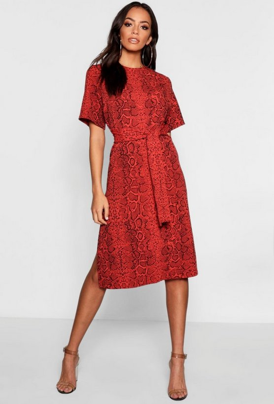 Snake Print Tie Waist Midi Shift Dress