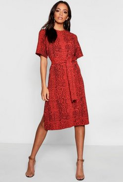 Womens Rust Snake Print Tie Waist Midi Shift Dress