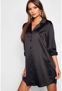 Black Luxe Satin Oversized Shirt Dress