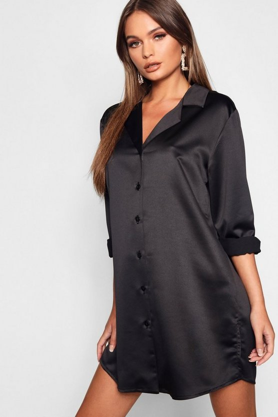 Womens Black Luxe Satin Oversized Shirt Dress