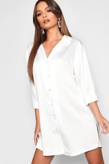 Womens Ivory Luxe Satin Oversized Shirt Dress