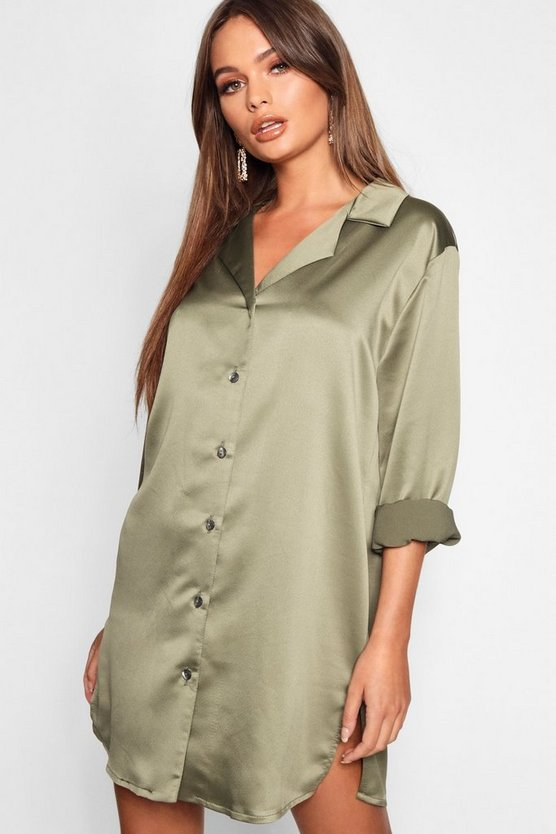 Luxuriöses oversized T-Shirt-Kleid aus Satin, Khaki, Damen