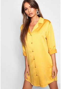 Mustard Luxe Satin Oversized Shirt Dress