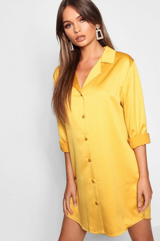 Womens Mustard Luxe Satin Oversized Shirt Dress