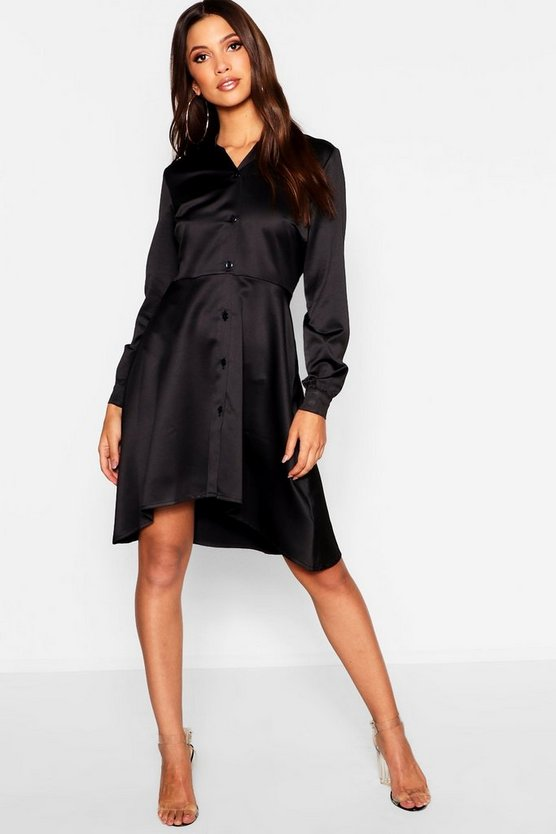 Dipped Hem Luxe Satin Shirt Dress