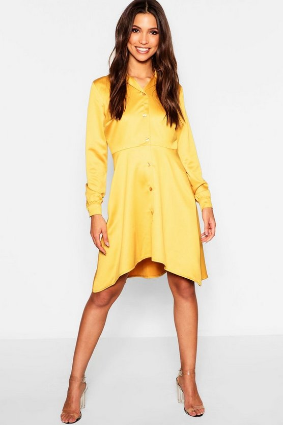 Womens Mustard Dipped Hem Luxe Satin Shirt Dress