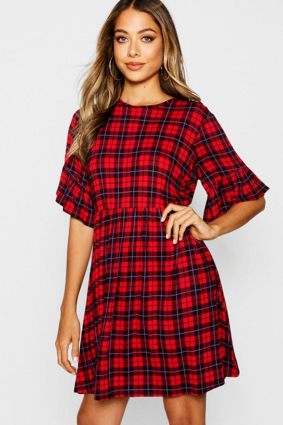 970e885f59 Checked Ruffle Sleeve Smock Dress