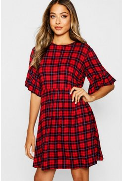 Womens Red Checked Ruffle Sleeve Smock Dress