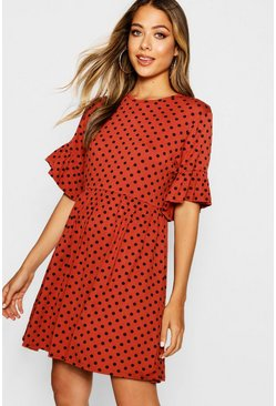 Womens Rust Polka Dot Ruffle Sleeve Smock Dress