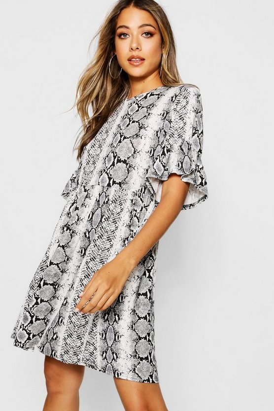 Snake Print Ruffle Sleeve Smock Dress