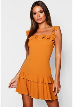 Womens Mustard Ruffle Strap Drop Hem Mini Dress