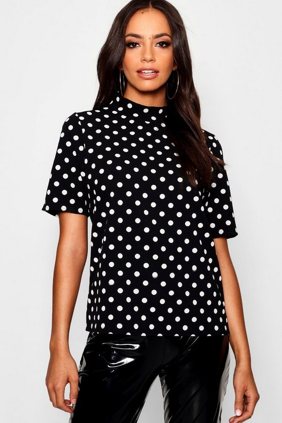 Womens Black High Neck Polka Dot Top