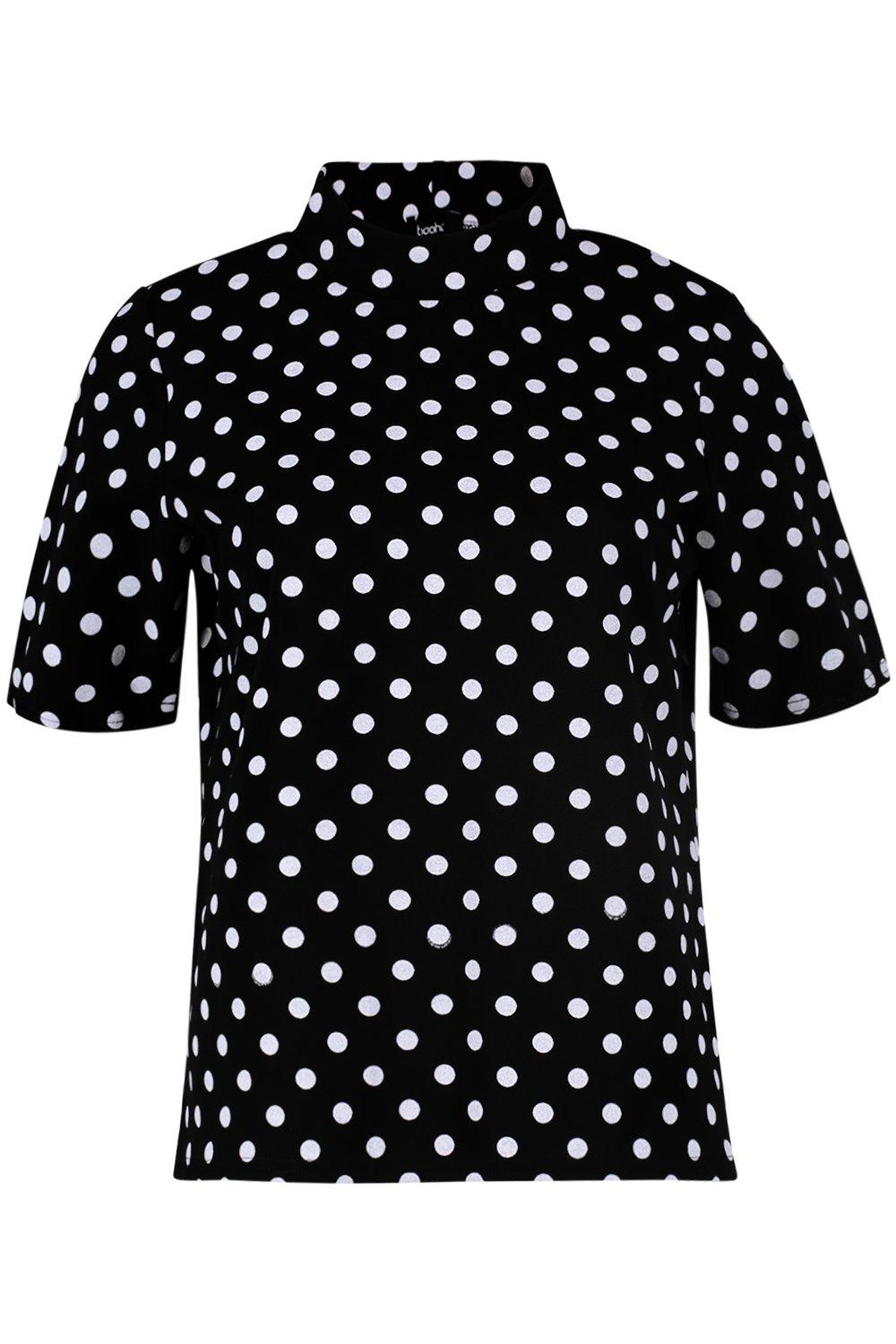 black Neck Top Polka High Dot WBZgqxf8x