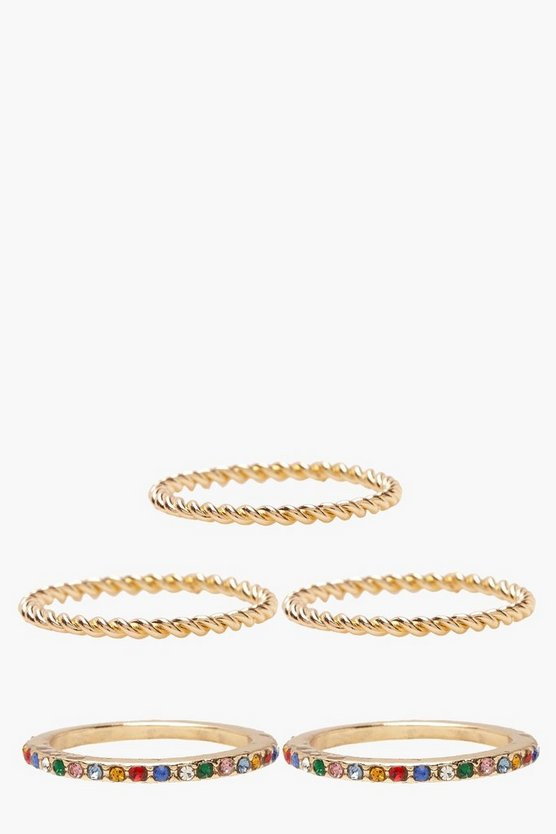 Womens Gold Rainbow Stone And Twist Ring Pack