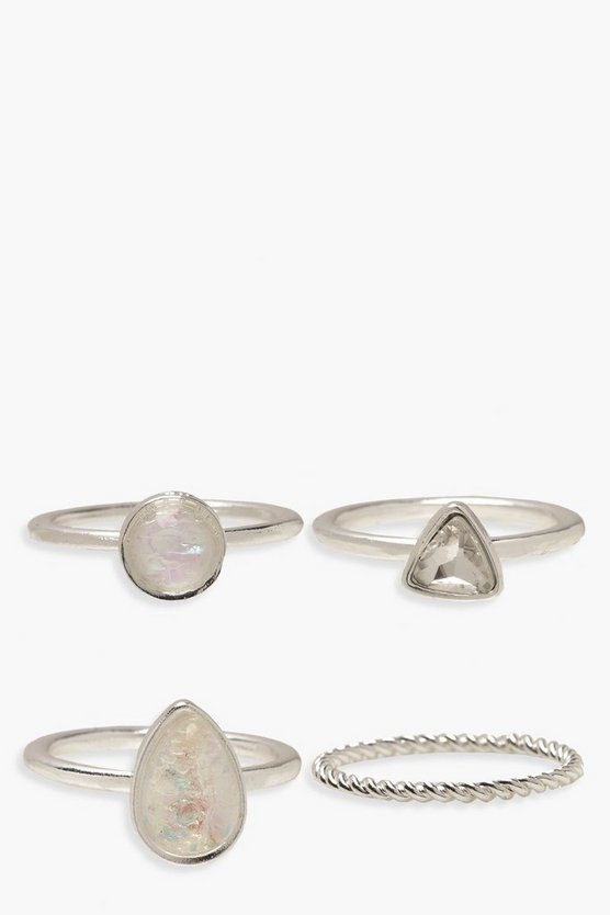 Iridescent Stone And Twist Ring Pack