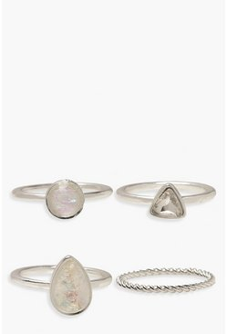 Womens Silver Iridescent Stone And Twist Ring Pack