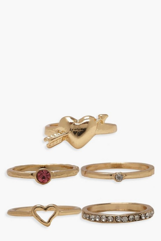Womens Gold Simple Heart Ring Pack