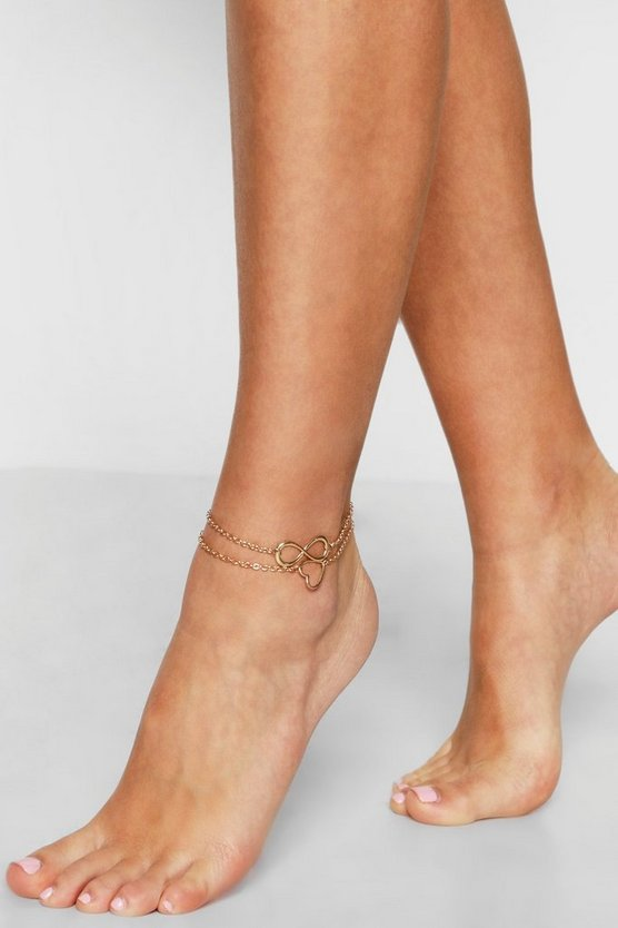 Womens Gold Infinity And Heart Anklet Pack