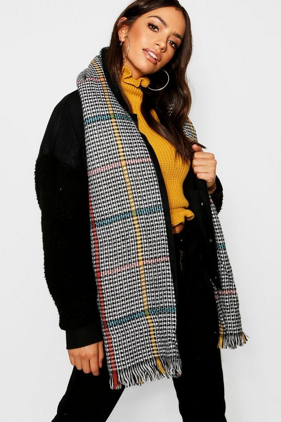 Womens Multi Monochrome Coloured Stripe Blanket Scarf