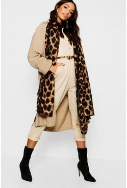 Brown Oversize sjal med leopardmönster