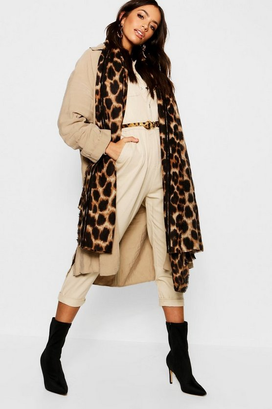 Womens Brown Leopard Oversized Blanket Scarf