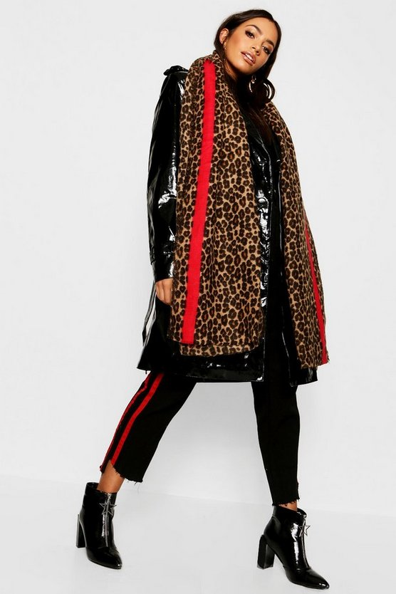 Womens Multi Leopard Red Stripe Oversized Blanket Scarf