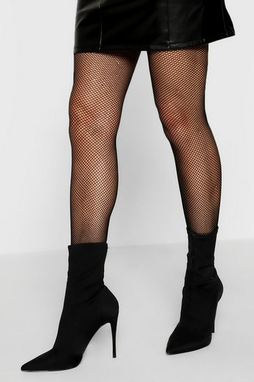 Womens Black Small Scale Fishnet Leggings