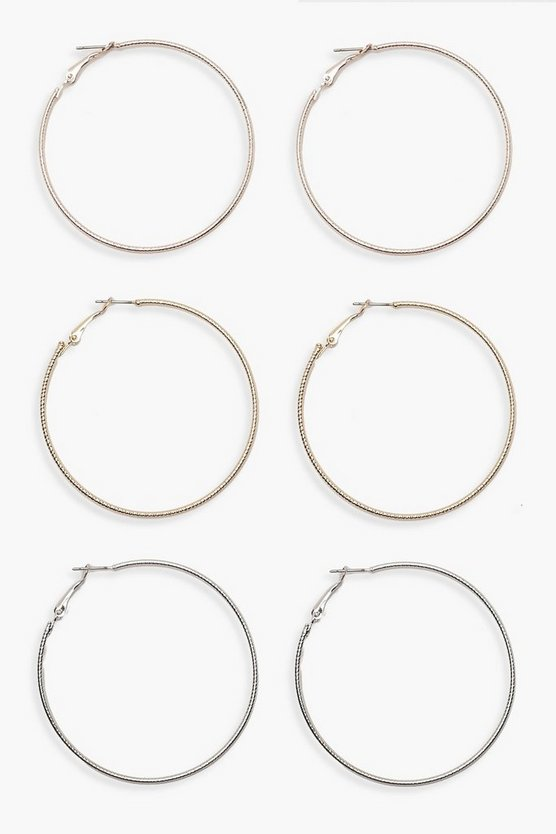 Multi Mixed Metal Hoop Pack