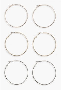 Womens Multi Mixed Metal Hoop Pack
