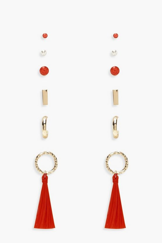 Stud & Circle Tassel Earring Pack