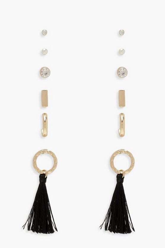 Black Mixed Stud & Tassel Earring Pack