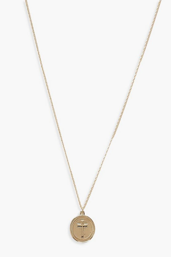 Womens Gold Cross Coin Pendant Necklace