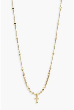 Womens Gold Cross And Ball Chain Necklace