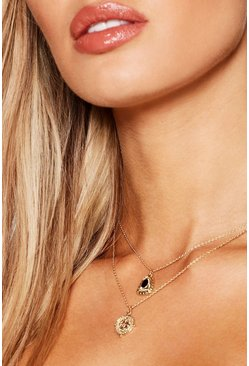 Womens Gold Stone & Diamante Layered Necklace