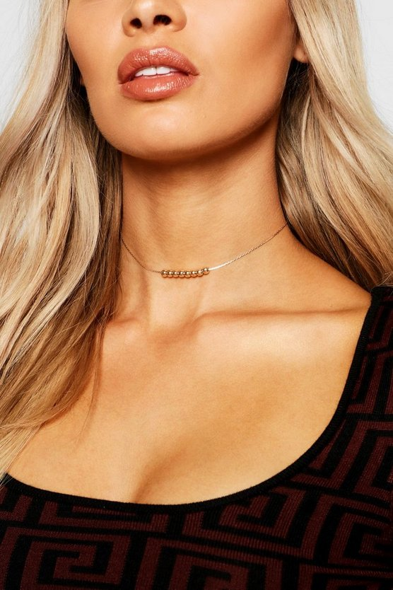 Womens Gold Delicate Bead Chain Choker