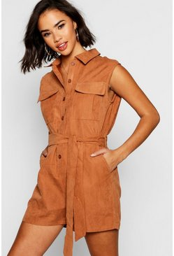 Womens Camel Suedette Utility Cargo Boiler Playsuit