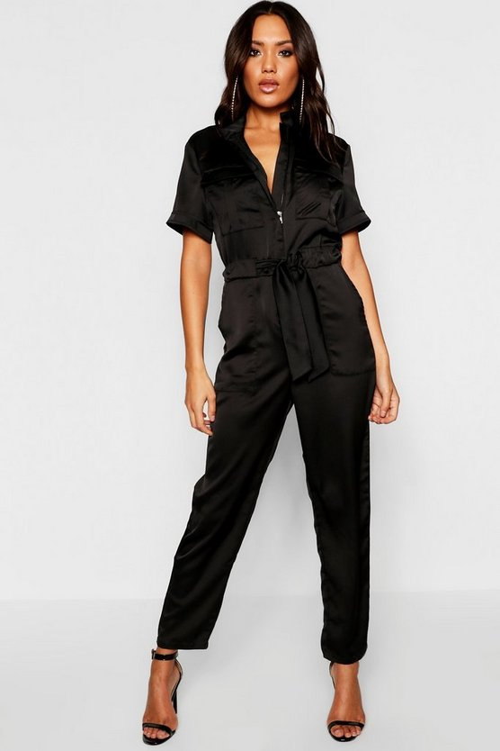 Satin Utility Cargo Pocket Boiler Suit