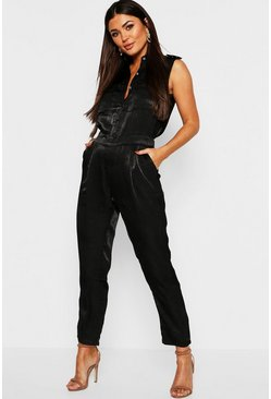Womens Black Satin Utility Cargo Pocket Jumpsuit