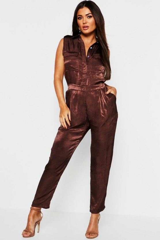 Womens Chocolate Satin Utility Cargo Pocket Jumpsuit