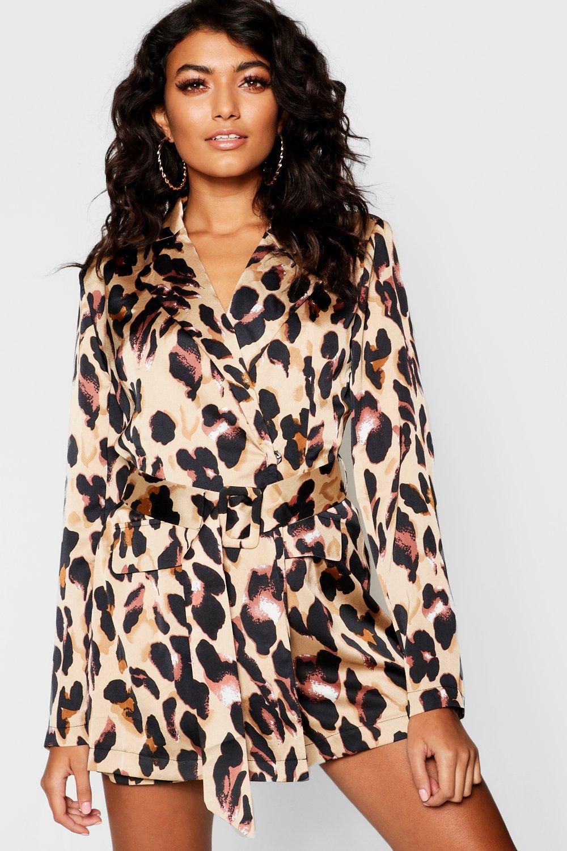 Satin Leopard Blazer Playsuit