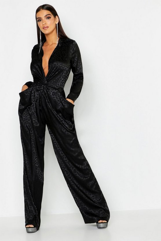 Black Leopard Satin Jacquard Twist Jumpsuit