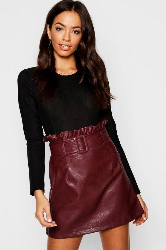 Belted PU Paper Bag Leather Look Waist Skirt