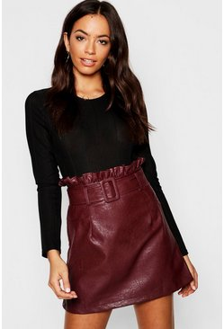 Womens Oxblood Belted PU Paper Bag Leather Look Waist Skirt