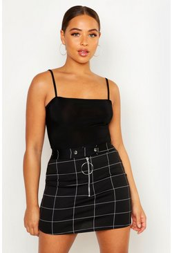 Womens Black Waist Detail Check Mini Skirt