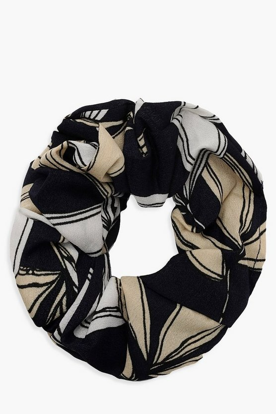 Womens Black Floral Pattern Scrunchie