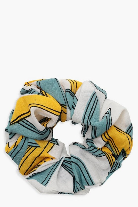 Womens Yellow Floral Pattern Scrunchie