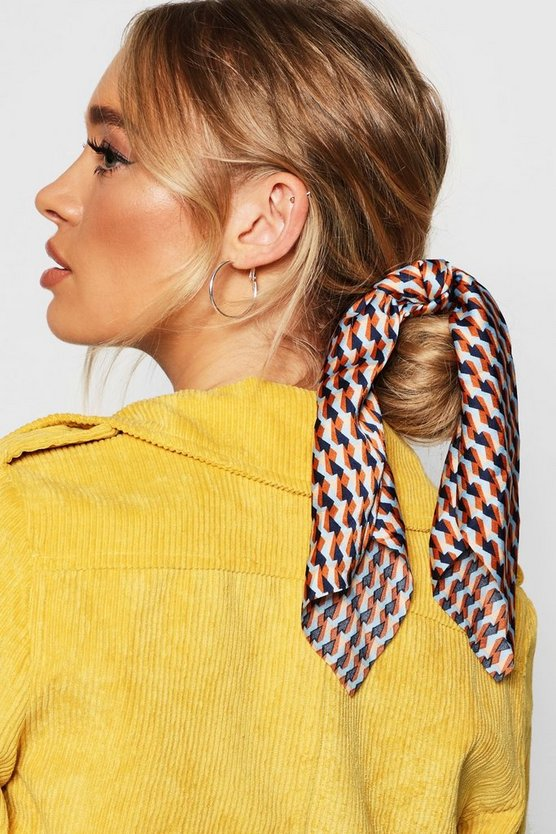 Womens Orange Geometric Scarf Scrunchie Hair Tie